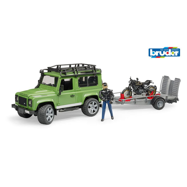 BRUDER 1:16 LAND ROVER DEFENDER WITH TRAILER SCRAMBLER