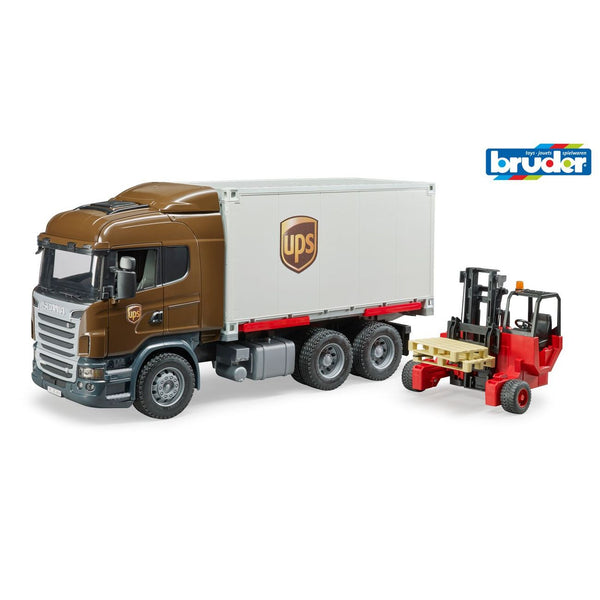 BRUDER 1:16 SCANIA R SERIES UPS LOGISTICS TRUCK WITH FORKLIFT