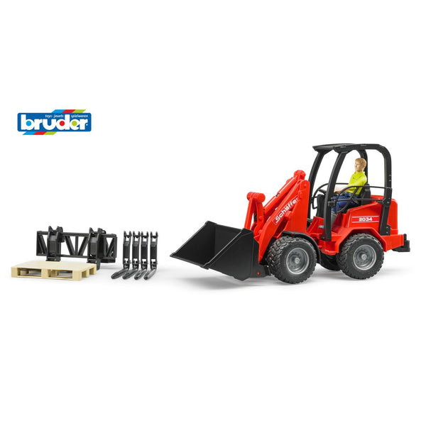 BRUDER 1:16 SHAFFER COMPACT LOADER 2034 WITH FIGURE AND ACCESSORIES