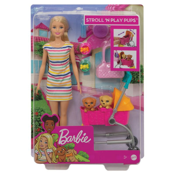 Barbie Stroll N Play Pups Doll & Accessories - Toyworld