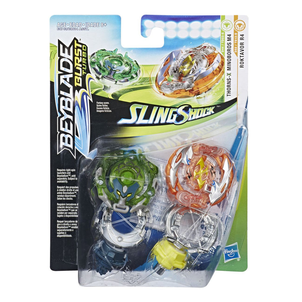 Beyblade Burst Turbo Slingshock Dual Pack Thorns X Minoboros M4 Poktavor R4 - Toyworld