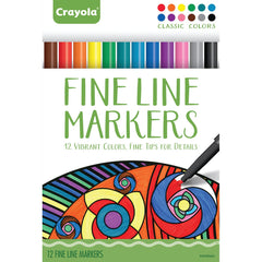 CRAYOLA 12CT FINE LINE MARKERS CLASSIC