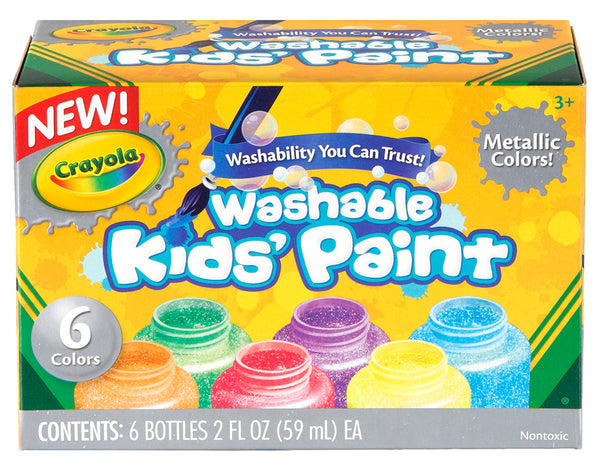 Crayola Washable Kids Metallic Paint 6 Colors - Toyworld