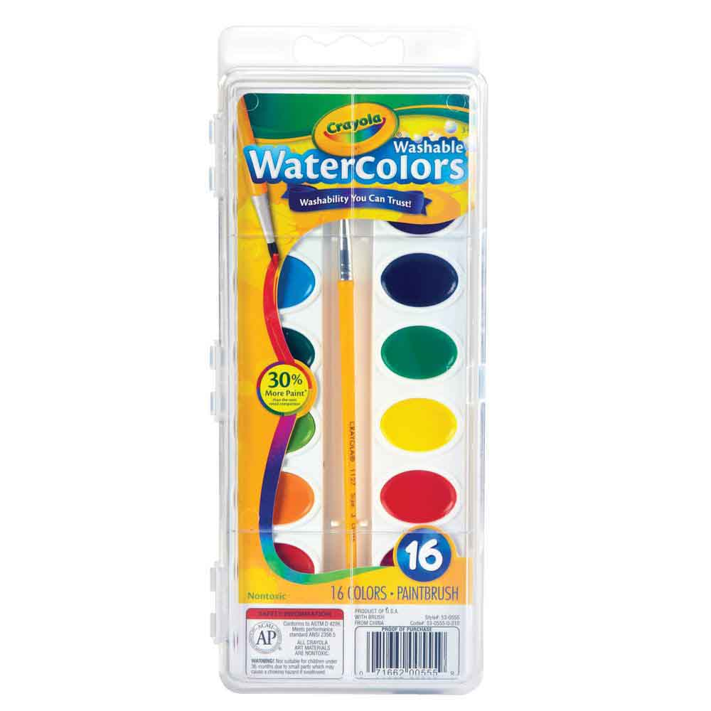Crayola Washable Watercolors 16 Color Tray - Toyworld
