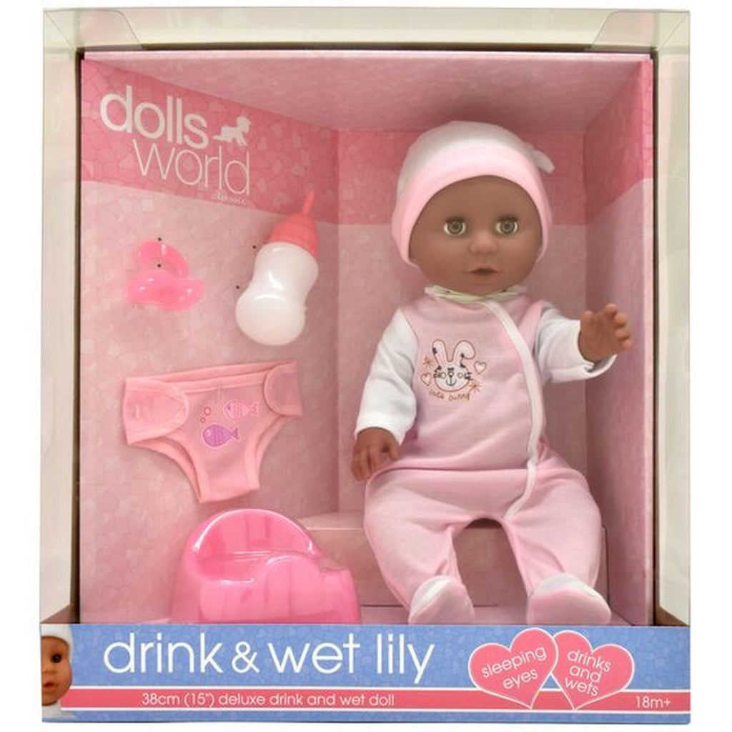 Dolls World Drink Wet Lily 38cm Deluxe Drink & Wet Doll - Toyworld
