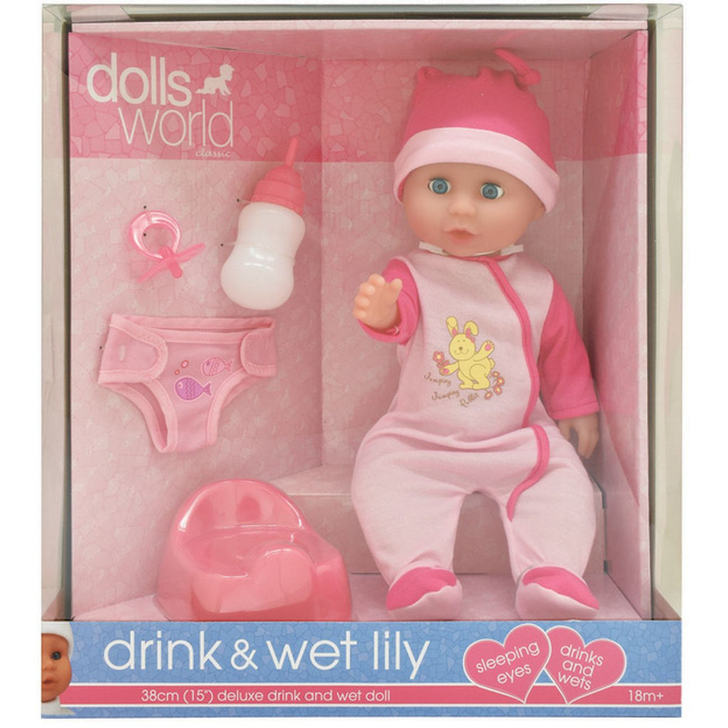 DOLLSWORLD - DRINK N WET LILY 38CM WHITE