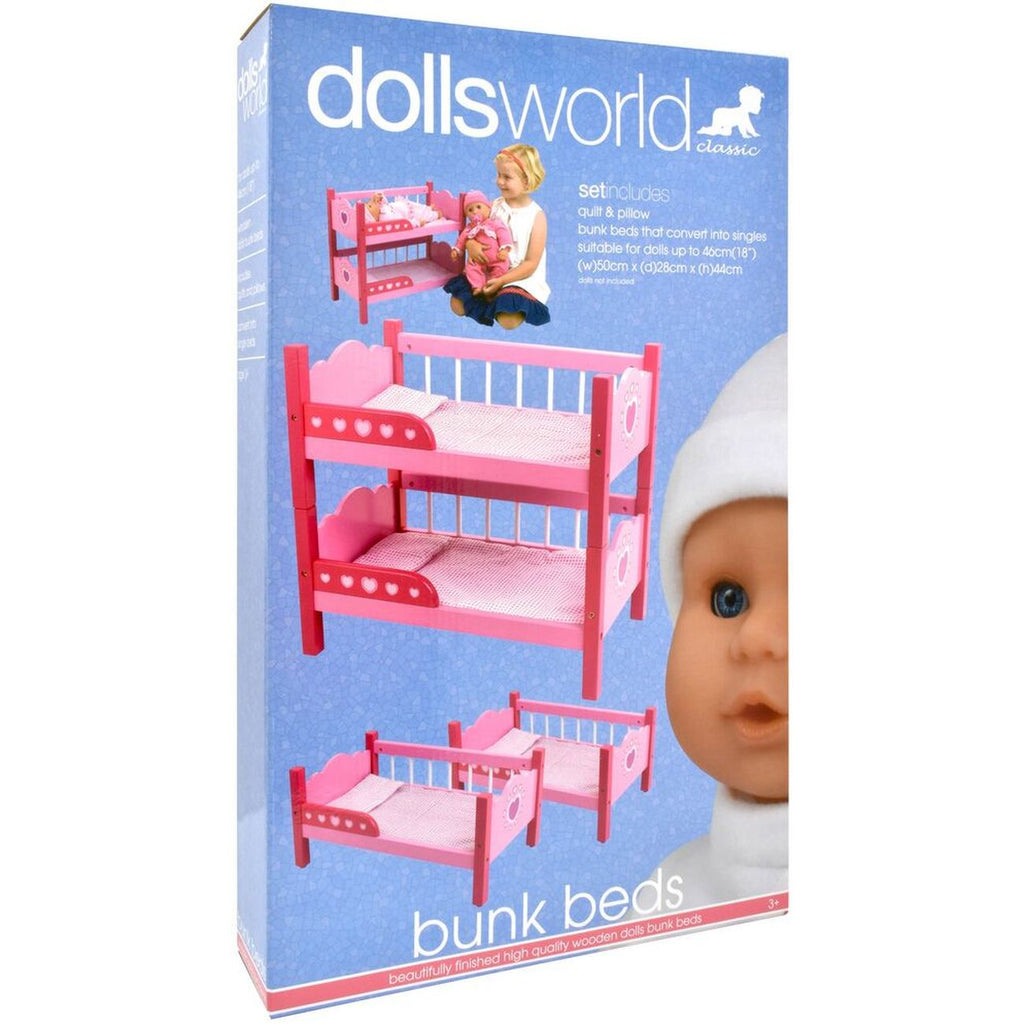 Dolls World Wooden Bunk Beds - Toyworld