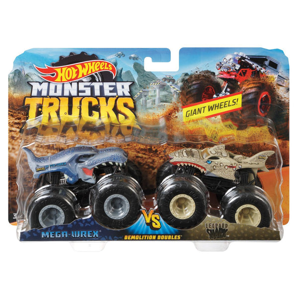 HOT WHEELS MONSTER TRUCKS 1:64 DEMO DOUBLES 2 PACK ASSORTED STYLES