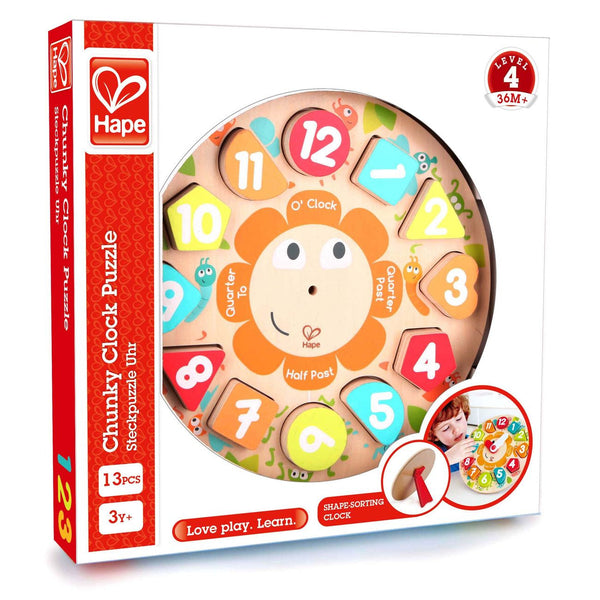 Hape Wooden Chunky Clock Puzzle - Toyworld