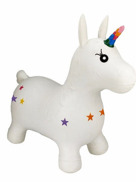 Happy Hopperz White Unicorn Large - Toyworld
