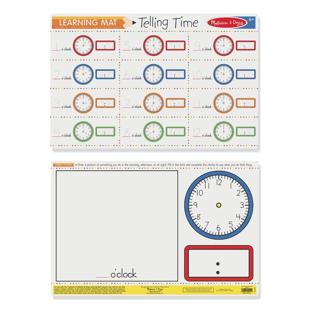 MELISSA & DOUG - LEARNING MAT TELLING TIME