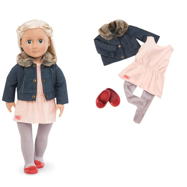 Our Generation Regular Outfit Just Fur You Jacket White Dress - Toyworld