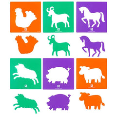 STENCIL FARMYARD ANIMALS SET OF 6