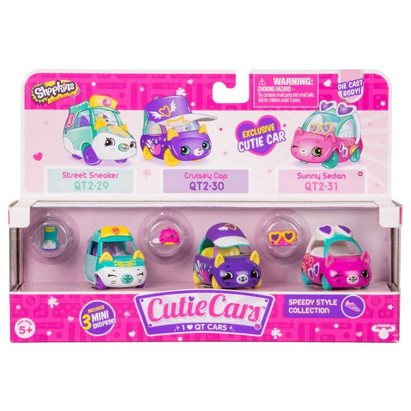 Shopkins Cutie Cars 3 Pack Speedy Style Collection - Toyworld