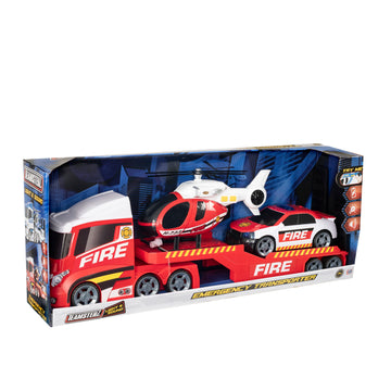 Teamsterz Light & Sound Fire Heli Transporter - Toyworld