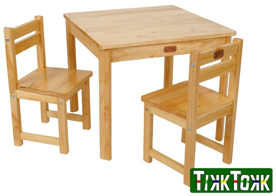 TIKKTOKK BOSS WOOD TABLE AND CHAIRS