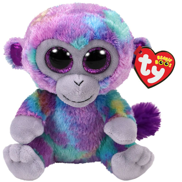 TY BEANIE BOO REG ZURI MULTI COLORED MONKEY