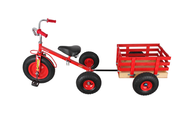 PLAYWORLD TRIKE WITH WOODEN TRAILER RED