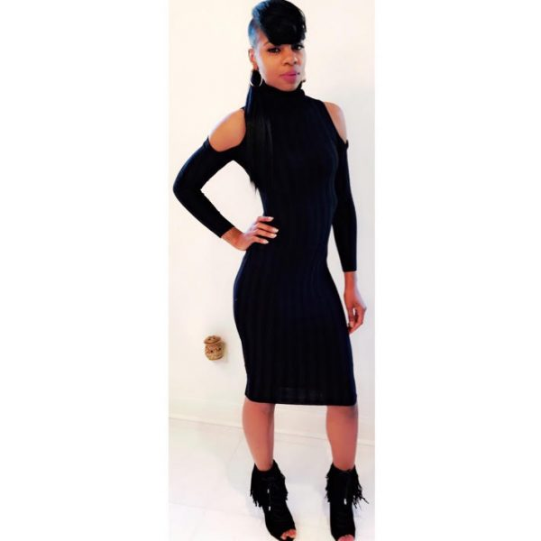BLACK BODYCON TURTLENECK DRESS