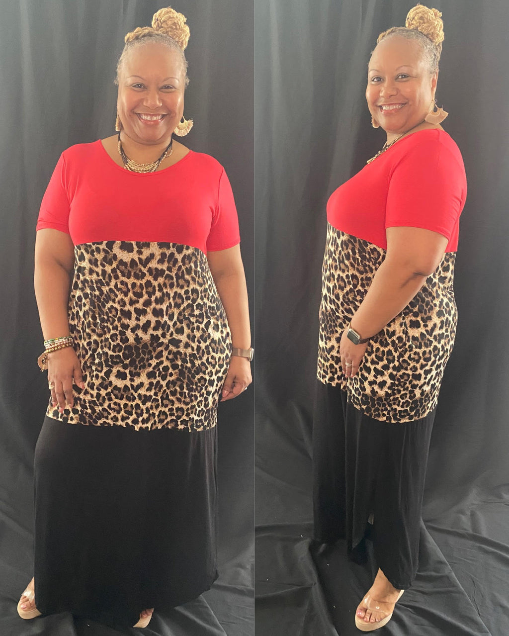 COLOR BLOCK LEOPARD MAXI