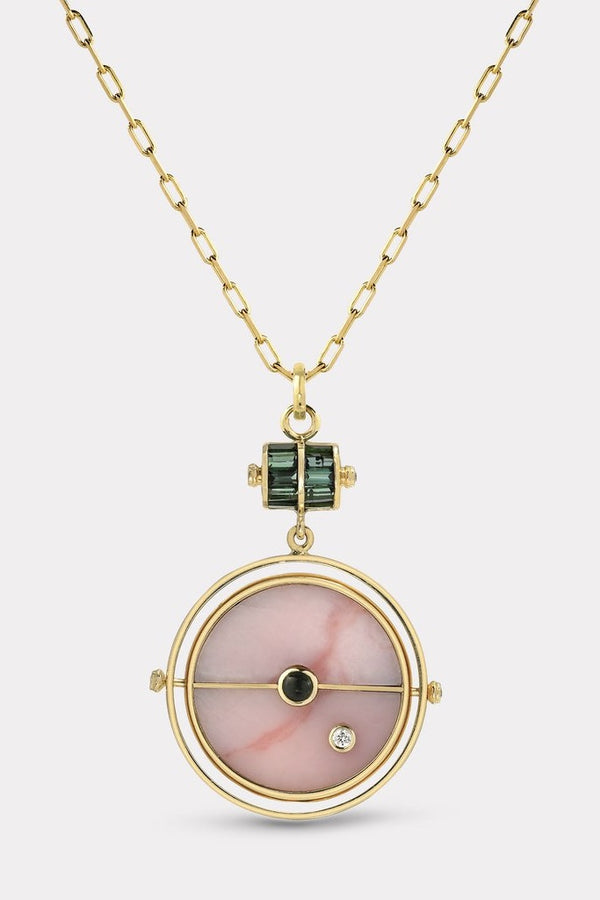 Grandfather Compass Pendant Pink Opal