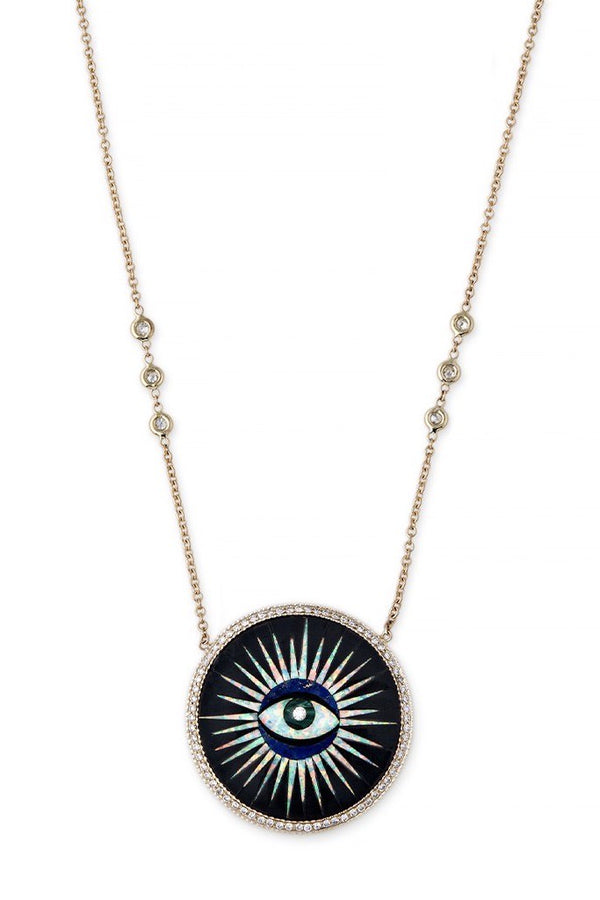 Pave Diamond Round Sun Eye- Onyx