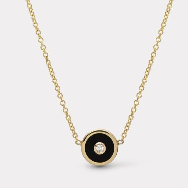 Mini Compass Necklace Blk Onyx