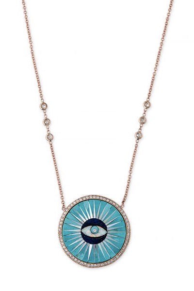 Pave Diamond Round Sun Eye- Turquoise