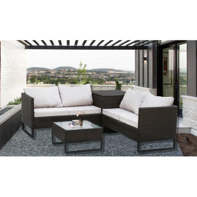 4-Piece With Storage Box Outdoor Conversation Set Rattan Patio Furniture Set Bistro Set Sofa Chairs with Coffee Table