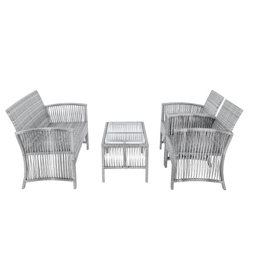 TOPMAX 4 Pieces Outdoor Furniture Rattan Chair & Table Patio Set Outdoor Sofa for Garden, Backyard, Porch and Poolside