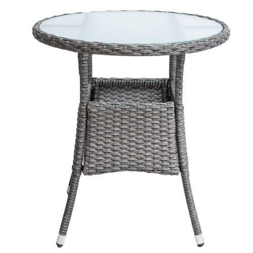 U_style 4 Piece Resin Wicker Patio Furniture Set with Round Table , Gray cushions