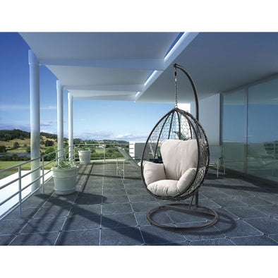 ACME Simona Patio Swing Chair with Stand in Beige Fabric & Black Wicker