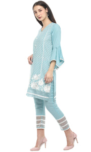 Rustic Blue Fringe Cotton Kurta Set