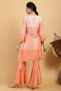 Peach Monochrome Pearl Pure Silk Kurta