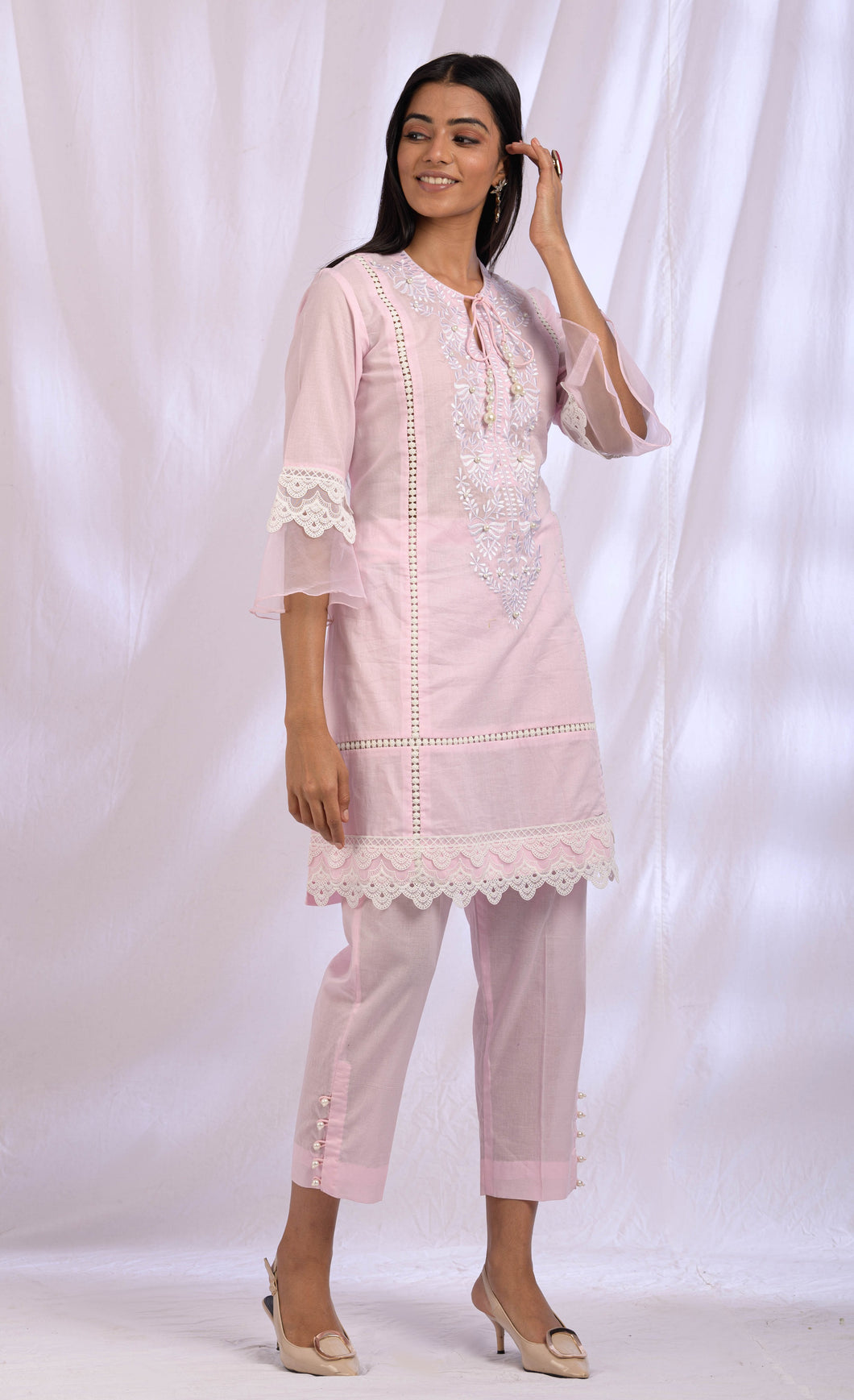 Blush Pink Cotton Lace Kurta