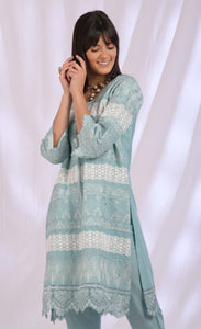 Teal Blue Cotton & Lace Dupatta Set