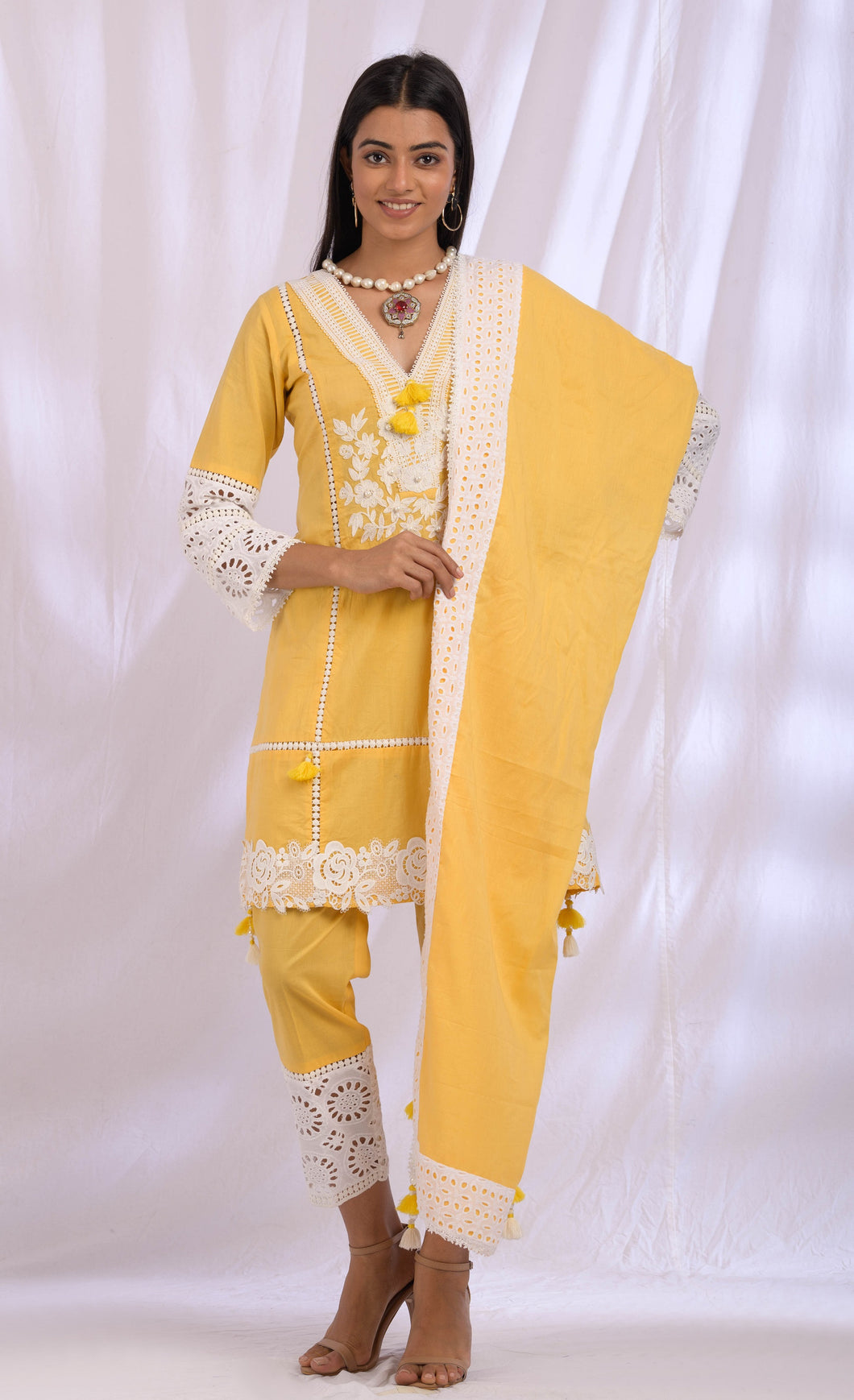 Butter Yellow Tassel Lace Dupatta Set
