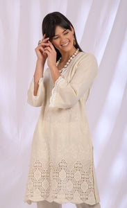 Light Beige Cutwork Cotton Dupatta Set