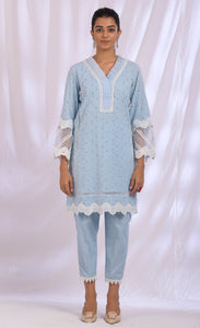 Ice Blue Cotton Dupatta Set