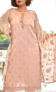 Salmon Pink Silk Kurta Set
