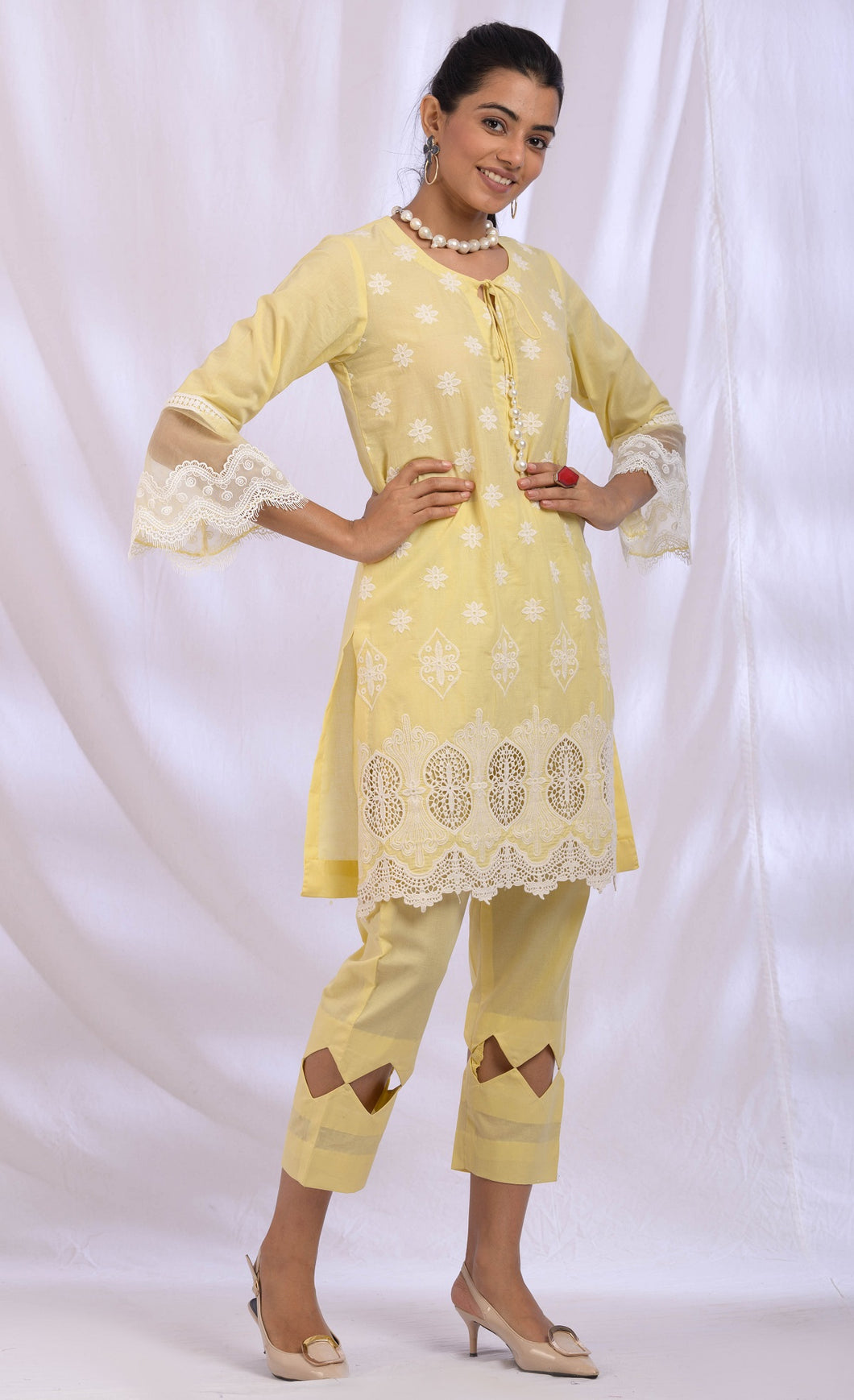 Lemon Yellow Cutwork Cotton Kurta Set