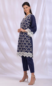 Navy Blue Scallop Lace Dupatta Set
