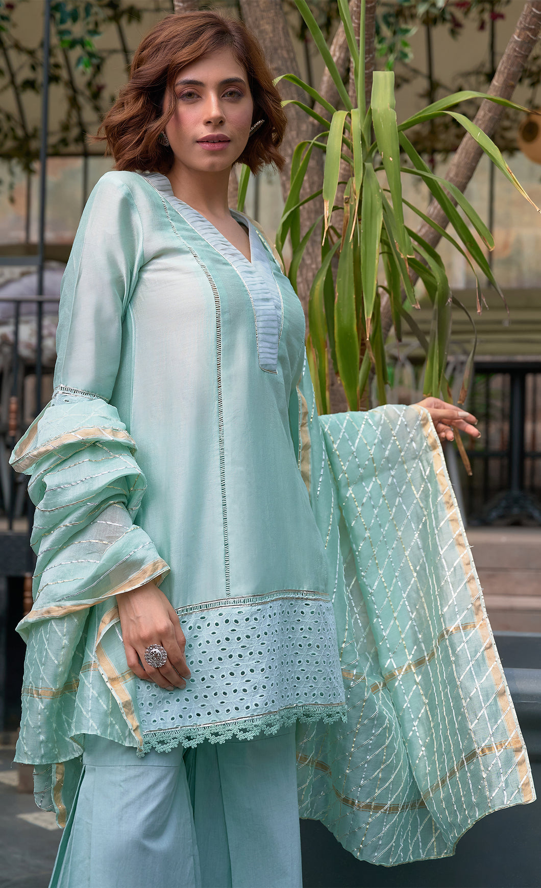 Sea Green Silk & Gota Set