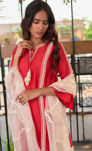 Red Chanderi Silk Sharara Kurta
