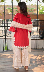 Red Chanderi Silk Sharara Set