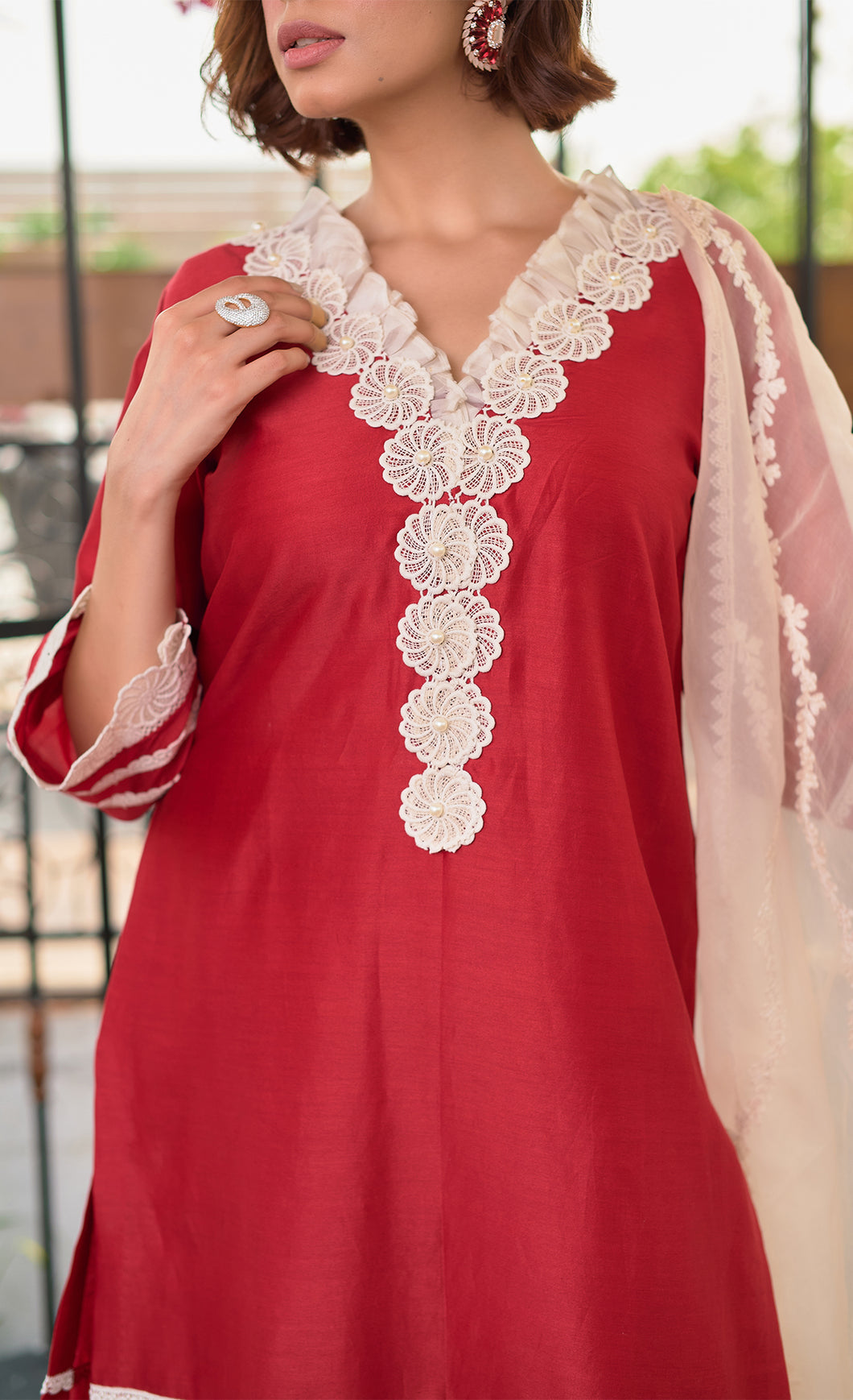 Red Floral Lace Kurta