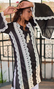 Black Beauty Chanderi Silk Kurta