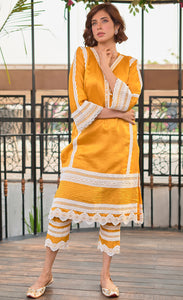 Mustard Yellow Chanderi Silk Set