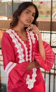 Fushia Chanderi Silk Set