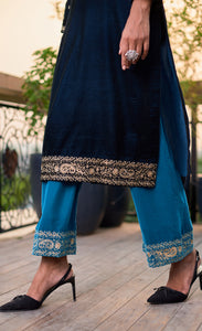 Zari Royal Blue Velvet Kurta Set